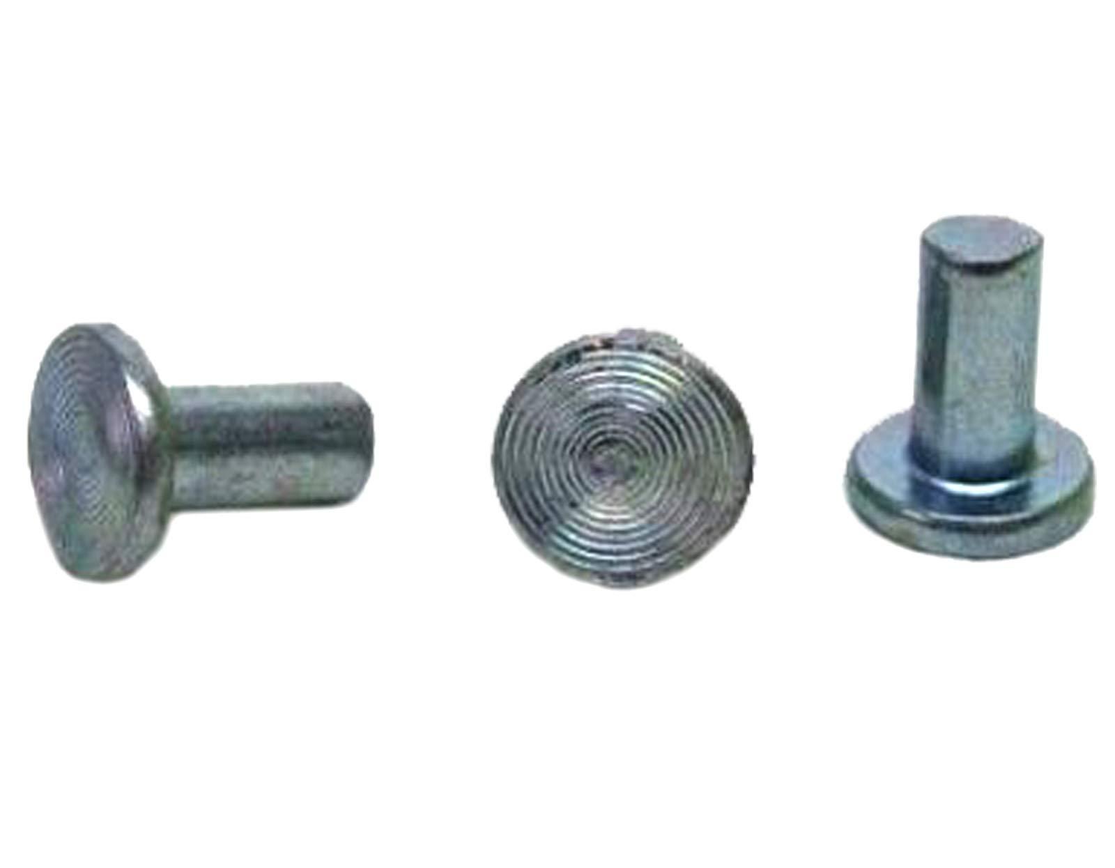 Flat Head Solid Rivets - 3/16'' X 3/8'' Solid Steel Rivets - Solid Steel Flat Head Rivet Plain Finish (100) by Magic Hub