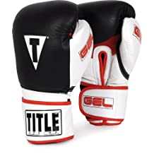 TITLE Boxing  TITLE Gel Intense Bag Gloves, Black/White, 12-Ounce