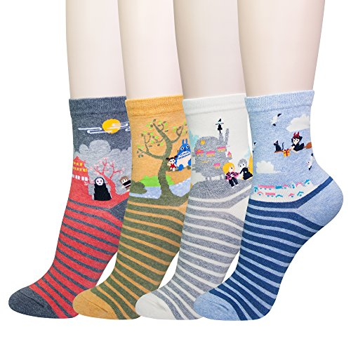 KONY Women's Funny Cartoon Japanese Animation Crew Socks Casual Cotton Gift (Miyazaki - 4 pairs) ()