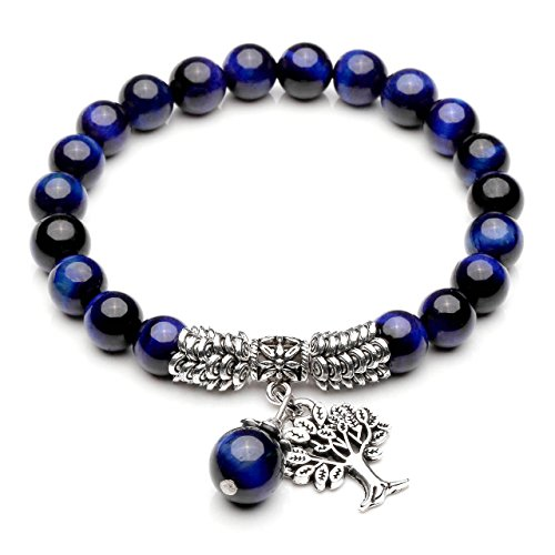 Top Plaza Stretch Blue Tiger Eye Tree of Life Lucky Stone Bracelet Reiki Healing Crystal Gemstone Dangle Charms Pendant Birthstone Bracelet(6.2
