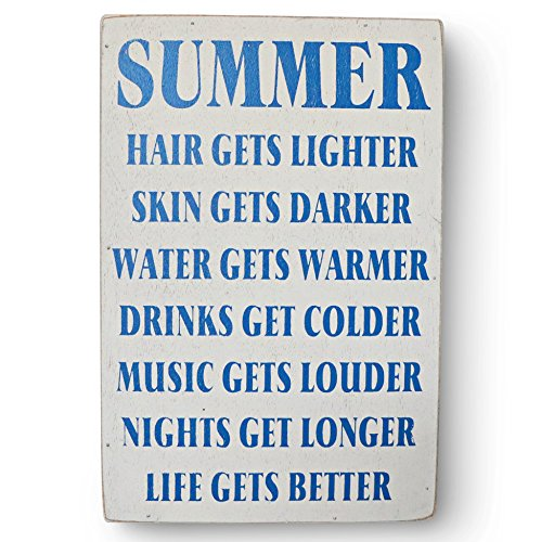 Barnyard Designs Summer Hair Gets Lighter Skin Gets Darker Wooden Box Wall Sign Beach House Decor Sign
