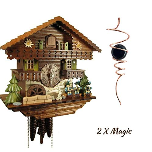 Qwirly 2 Item Bundle: STERNREITER Musicians Black Forest Mechanical Musical Cuckoo Clock & Optical Illusion Spinner