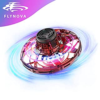 GESUNDHOME FlyNova Flying Toys for Kids Toddlers Adults - Hand Control Mini Drones with 360° Rotating and 5 Shinning LED Lights(Red)