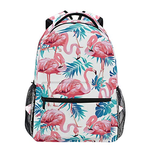 Wamika Pink Flamingo Backpacks Palm Tree Laptop Book Bag Summer Tropical Casual Extra Durable Backpack Lightweight Travel Sports Day Pack for Men Women (Palm Trees With Backpack)