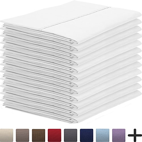12 Pillowcases - Premium 1800 Ultra-Soft Collection - Bulk Pack - Double Brushed - Hypoallergenic - Wrinkle Resistant - Easy Care (King - 12 Pack, White)