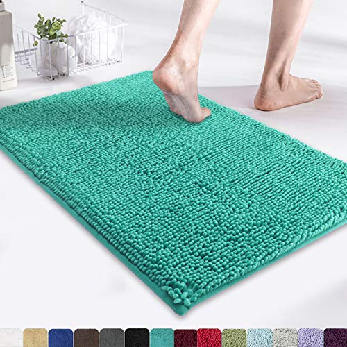 MAYSHINE Non-Slip Bathroom Rug Shag Shower Mat (17×24 Inches) Machine Washable Bath Mats with Water Absorbent Soft Microfibers of Turquoise