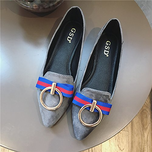YFF Spring new single shoes shallow mouth yards leisure large yards mouth pointed flat with women flat shoes,Black, 41 casual... B072XMB8KY Shoes 609d31