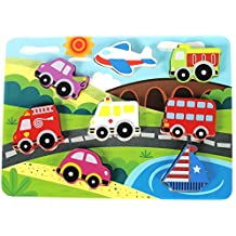 "Vehicle & Travel Chunky Wooden Puzzle for Toddlers, Preschool Age w/ ""Easy-Hold"" Colorful Solid Wood Pieces w/ Fire Truck, Bus, Plane. Simple Educational & Sensory Learning for 1, 2 & 3 Year Olds"