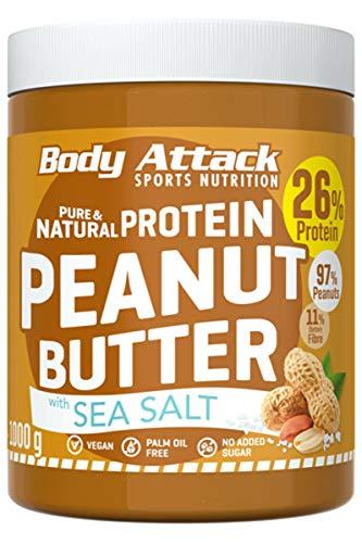 바디 공격 단백질 땅콩 버터, 1kg, 바다 소금, 추가 설탕없는 땅콩 버터 26 %의 단백질과 땅콩 버터 채식주의 저탄수화물