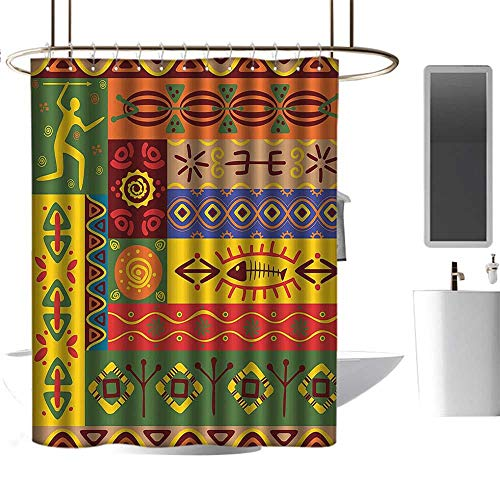 homehot Shower Curtains Orange African Decorations,Abstract Ethnic West African Tribal Folk Art Forms with Unique Primitive Lines Decor,Multi,W36 x L72,Shower Curtain for -