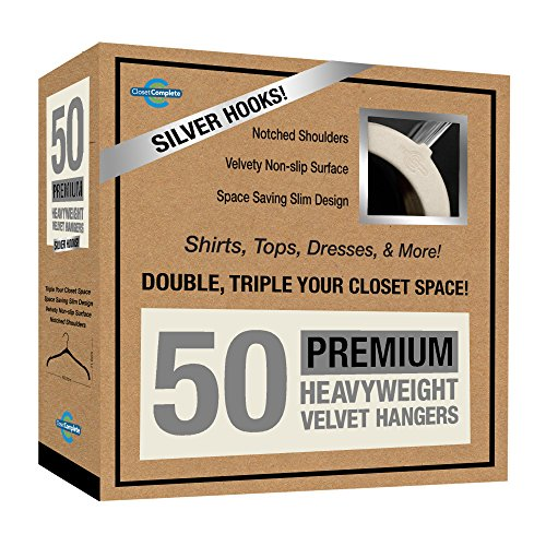 Closet Complete Premium Quality, True-Heavyweight, Virtually-UNBREAKABLE Velvet Hangers, Ultra-Thin, Space Saving, No Slip, Best for SHIRT, DRESS, LINGERIE, 360° SPIN, Chrome Hooks, Ivory, Set of 50