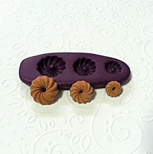 Silicone Molds Miniature Cruller Doughnuts (8-13mm) Jewelry Dollhouse Fake Sweet by Simply Molds