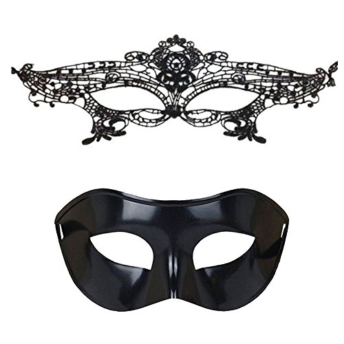 (Trimengo Masquerade Mask for Couples Mardi Gras Mask Venetian Costume Halloween)