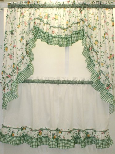 The_Curtain_Shop Dreams Floral and Gingham Swag Pair Green