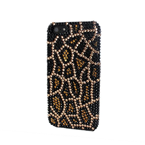 Full Bling Leopard Snap - Sanoxy Bling Full Diamond/ Rhinestone Snap on Case Leopard Cheetah for iPhone 5/5S - Non-Retail Packaging - Brown and Yellow