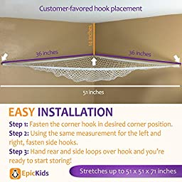 TOY HAMMOCK - A Large Storage Net For Plush Toys and Stuffed Animals - Helps your child organize their room - By EpicKids