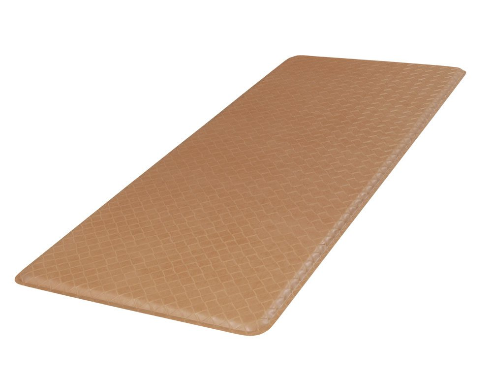 """GelPro Classic Anti-Fatigue Kitchen Comfort Chef Floor Mat, 20x48"""", Basketweave Khaki Stain Resistant Surface with 1/2"""" Gel Core for Health and Wellness"""