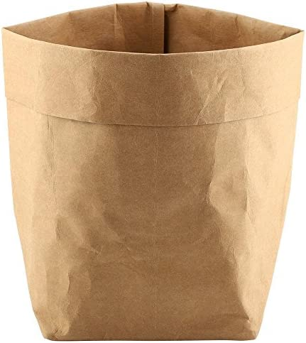 xuuyuu 収納紙袋 貯蔵袋 クラフト紙袋 クラフトペーパーバッグ 多肉植物ポットカバー 植木鉢カバー ペーパーバッグ 植え袋 折りたたみ式 置物収納袋 おもちゃ/フルーツ/ランドリー/雑貨(25*25*40)