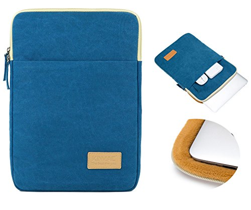 Kinmac 360 degree protective Canvas Vertical style Waterproof Laptop Sleeve with Pocket 13 Inch for 13.3 inch laptop and Macbook Air Pro 13 (Blue)