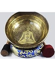 "NHZ Antique Design Tibetan Singing Bowl Set with Mallet & Cushion for Meditation, Chakra Healing, Yoga, and Mindfulness (12"" Healing Mantra)"