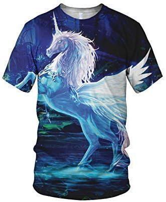 Estampado Entero Crystal Unicornio Moda Camiseta De Mujer - sintético, Multicolor, 100% poliéster 100% poliéster, mujer, Small, Multicolor: Amazon.es: Ropa y accesorios