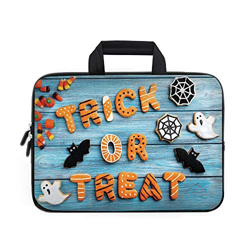 Vintage Halloween Laptop Carrying Bag Sleeve,Neoprene Sleeve Case/Trick or Treat Cookie Wooden Table Ghost Bat Web Halloween/for Apple Macbook Air Samsung Google Acer HP DELL Lenovo AsusBlue Amber Mul