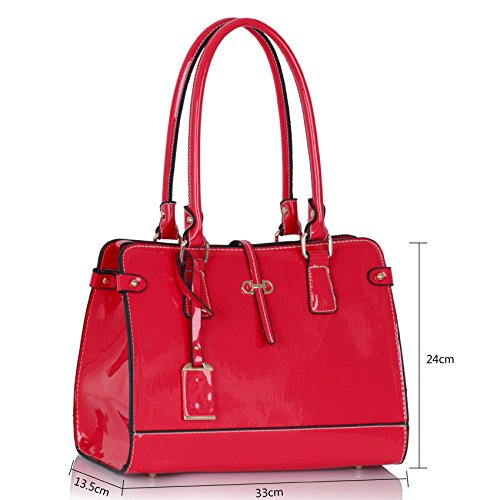 Women 1 Top Medium Size Handle Look Bag Patterned Design Ladies Luxury Shoulder Patent Designer Handbag leather Pink qwxExZXHz