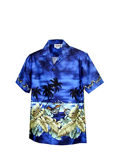 Motorcycle Mens Navy Blue (Pacific Legend Men's Motorcycle Hawaiian Sunset Hawaiian Shirt Navy Blue Large)
