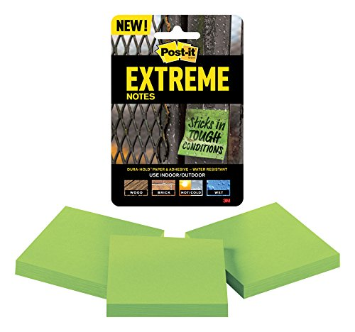 Post-it Extreme Notes, Engineered for Tough Conditions, Made with Dura-Hold Paper and Adhesive, 3 Pads, 3 in x 3 in, Green