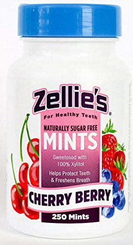 (Zellies Xylitol Sweetened Cherry Berry Mints, 250 Count Jar)
