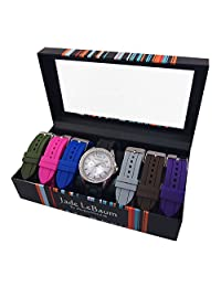 Womens Watch Set Seven Interchangeable Silicone Straps Crystal Bezel Designer Jade LeBaum - JB202751G