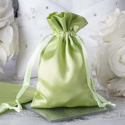 381224aff42e Efavormart 12PCS Apple Green Satin Gift Bag Drawstring Pouch Wedding Favors  Bridal Shower Candy Jewelry Bags - 4