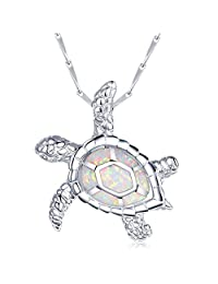 Bridesmaid Gifts Necklace White Opal Large Turtle Pendant Sterling Silver 18""