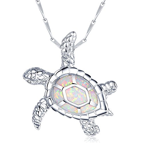 SIFUNUO 925 Silver Lovely White Opal Hawaiian Sea Turtle Pendant Large Valentines (Sterling Silver Hawaiian Turtle Pendant)