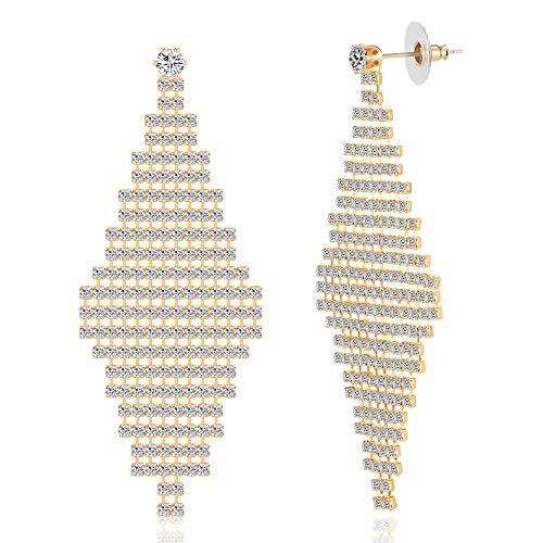 Long Chandelier Rhinestone Wedding Earring Set Rhombus