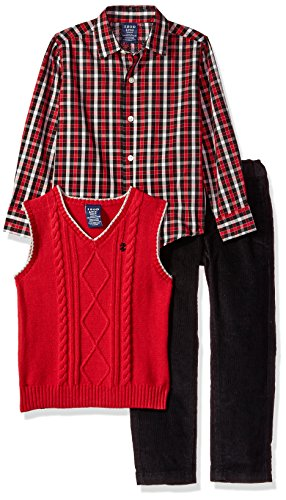 Izod boys 3-Piece Sweater Vest, Dress Shirt, and Pants Set, red/Cord, Large(6)