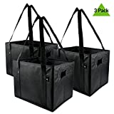 Prime Line Packaging Extra Large And Super Strong Premium Quality Grocery Bags, Collapsible Shopping Bags, Storage Box Bags – Pack Of 3 – 14.5'' W X 10'' H X 10'' D