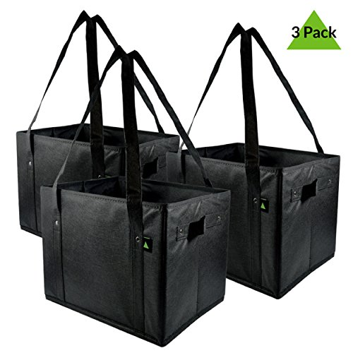 Prime Line Packaging Extra Large And Super Strong Premium Quality Grocery Bags, Collapsible Shopping Bags, Storage Box Bags – Pack Of 3 – 14.5'' W X 10'' H X 10'' D by Prime Line Packaging