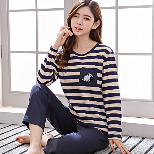 C PLLP Pajama Women Cotton LongSleeved Autumn and Winter Cotton Home Service Casual Lady Cute Cartoon Suit