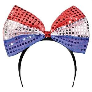 Jumbo Bow Sequin Headband - American Flag Colors