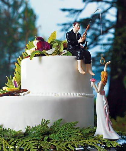 Cake topper peint main porcelaine hooked on love Groom figurine avec Rod