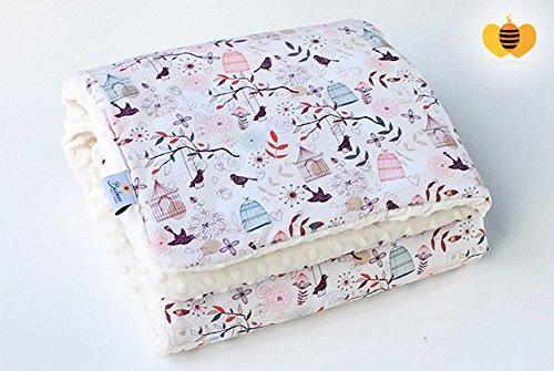 BABEES© Baby Decke MINKY 100x75 Baumwolle Plüsch [VÖGEL + CREME] SELLIT