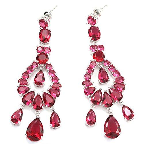 Red Quartz Earrings - FC Plum Red Chandelier Dangle CZ Bridal Wedding Earrings Prong-set Silver Tone