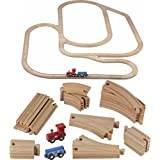 Wooden Train Tracks - 52 PCS Wooden Train Set + 2 Bonus Toy Trains - Train Sets for Kids - Car Train Toys is Compatible with Thomas Wooden Railway Systems and All Major Brands - Original - by Play22
