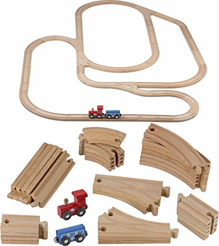 Tracks - 52 PCS Wooden Train Set + 2 Bonus Toy Trains - Train Sets for Kids - Car Train Toys is Compatible with Thomas Wooden Railway Systems and All Major Brands - Original ()