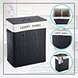 MWShop Labeled Laundry Basket Double Rectangular Shape Bamboo Interfere With 2 Bins That Are Ideal For Sorting Lights From Darks High Thickened Lid With PU Leather Handle Light-Weight