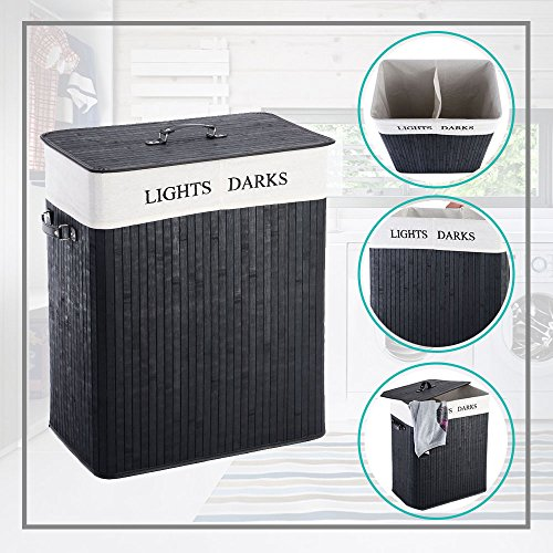 MWShop Labeled Laundry Basket Double Rectangular Shape Bamboo Interfere With 2 Bins That Are Ideal For Sorting Lights From Darks High Thickened Lid With PU Leather Handle Light-Weight by MWShop
