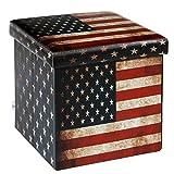 Cheap B FSOBEIIALEO Faux Leather Folding Storage Ottoman with U.S.Flag Footrest Coffee Table 15'x15'x15′