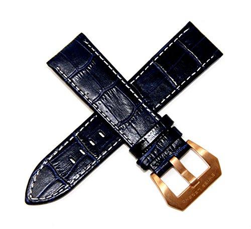 Swiss Legend 24MM Dark Blue Alligator Grain Leather Watch Band Rose Gold Buckle fits 42mm Executive Watch