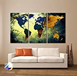 Large 30″x 60″ 3 Panels 30×20 Ea Art Canvas Print World Map Texture Abstract Wall Decor Home Office Interior Home Office (Included Framed 1.5″ Depth) Picture
